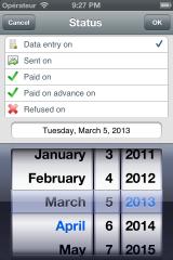 Expense: date & status