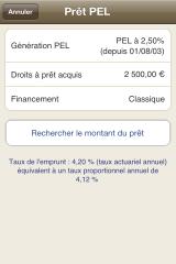 Recherche de montant prêt PEL